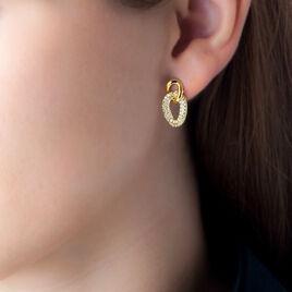 Boucles D'oreilles Pendantes Zaliaae Plaque Or Oxyde De Zirconium - Boucles d'oreilles fantaisie Femme | Histoire d'Or