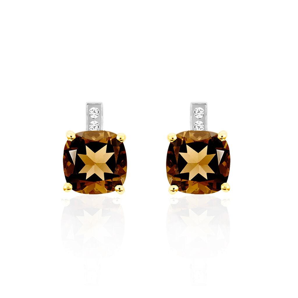 Boucles D'oreilles Puces Or Jaune Quartz Et Diamant - Clous d'oreilles Femme | Histoire d'Or