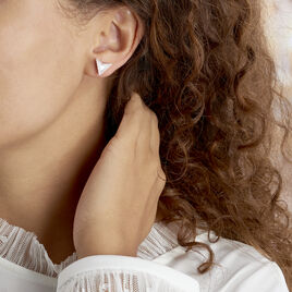 Boucles D'oreilles Puces Moric Argent Blanc Oxyde De Zirconium Nacre - Boucles d'oreilles fantaisie Femme | Histoire d'Or