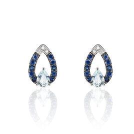 Boucles D'oreilles Puces Tieanddye Or Blanc Topaze Saphir Et Diamant - Clous d'oreilles Femme   Histoire d'Or