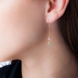Boucles D'oreilles Pendantes Or Jaune Calcedoine - Boucles d'oreilles pendantes Femme   Histoire d'Or