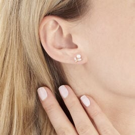 Boucles D'oreilles Puces Frigga Or Jaune Perle De Culture Et Oxyde - Boucles d'Oreilles Plume Femme | Histoire d'Or