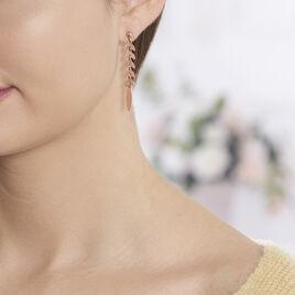 Boucles D'oreilles Pendantes Auxanne Argent Rose - Boucles d'Oreilles Plume Femme | Histoire d'Or