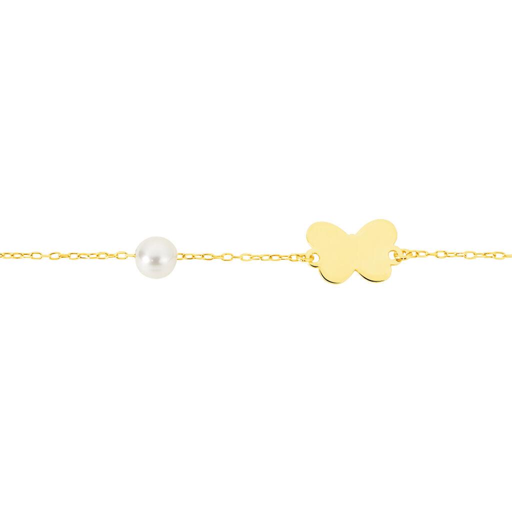Bracelet Aurida Papillon Or Jaune Perle De Culture - Bracelets Naissance Enfant   Histoire d'Or