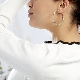 Créoles Alieno Helicoidale Argent Blanc - Boucles d'oreilles créoles Femme | Histoire d'Or