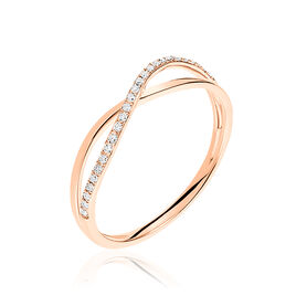 Bague Daya Or Rose Diamant - Bagues avec pierre Femme   Histoire d'Or