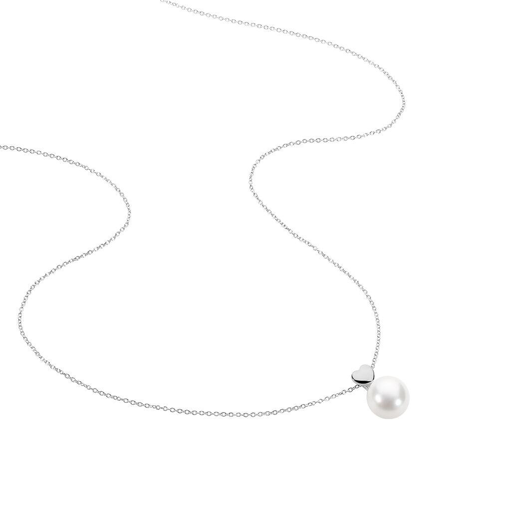 Collier Lorella Argent Blanc Perle De Culture - Colliers Coeur Femme   Histoire d'Or