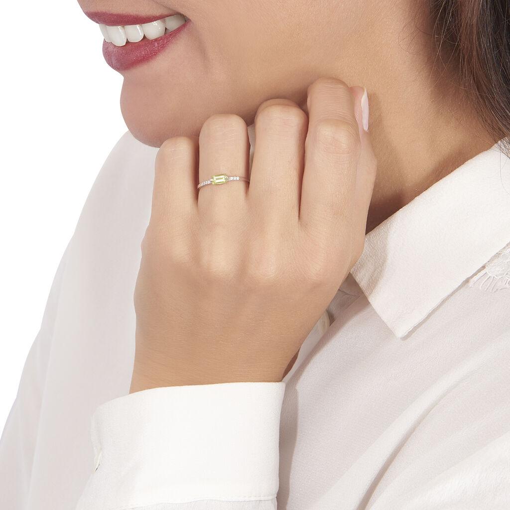 Bague Avigael Or Blanc Péridot Et Oxyde De Zirconium - Bagues avec pierre Femme   Histoire d'Or