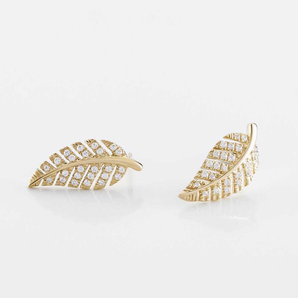 Boucles D'oreilles Puces Tourkia Or Jaune Oxyde De Zirconium - Boucles d'Oreilles Plume Femme   Histoire d'Or