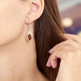Boucles D'oreilles Argent Ambre Ethniques - Boucles d'oreilles fantaisie Femme | Histoire d'Or
