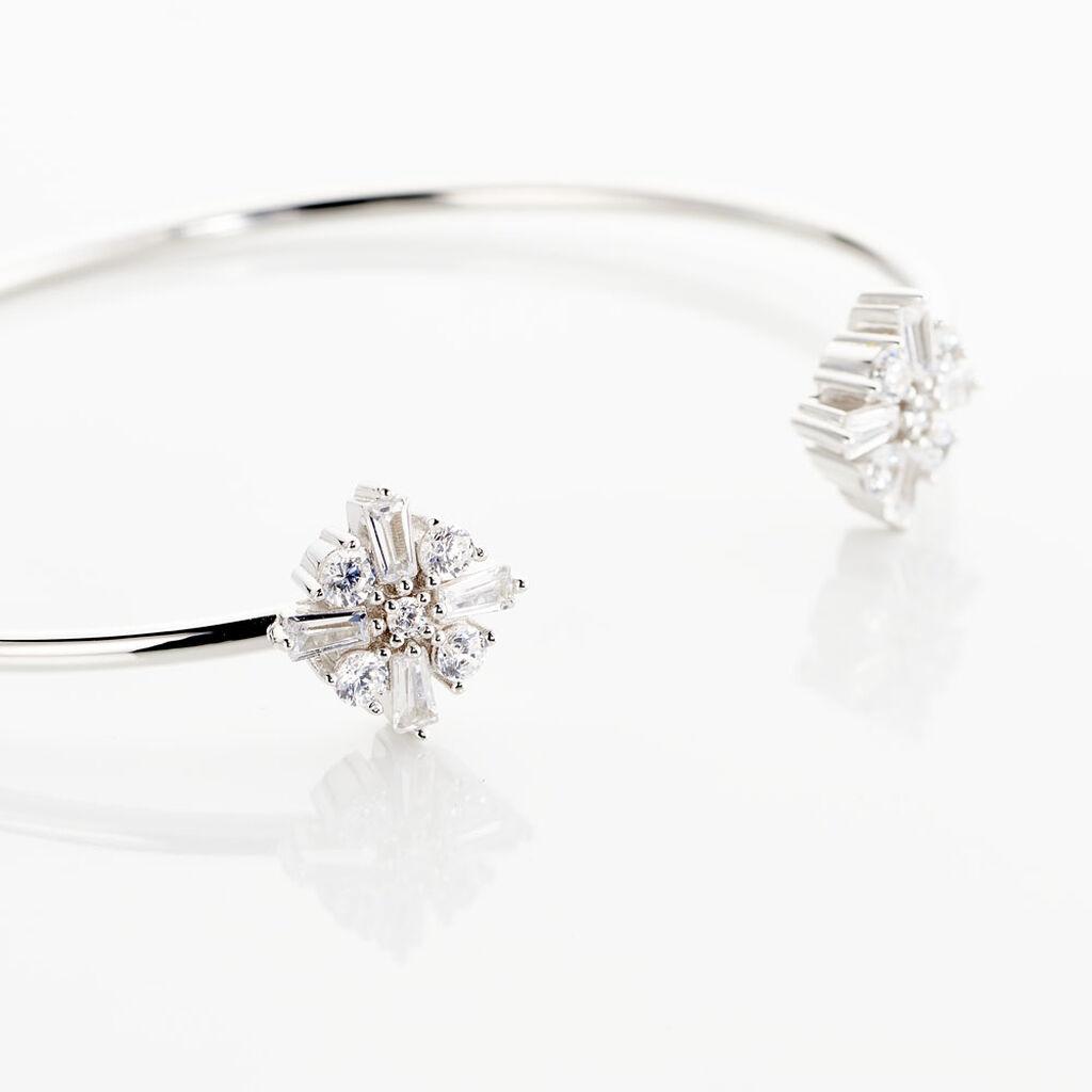 Bracelet Jonc Miryana Empierree Argent Blanc Oxyde De Zirconium - Bracelets Croix Femme   Histoire d'Or