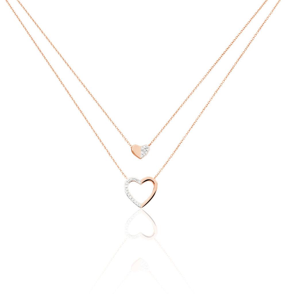 Collier Emilia Or Rose Diamant - Colliers Coeur Femme | Histoire d'Or
