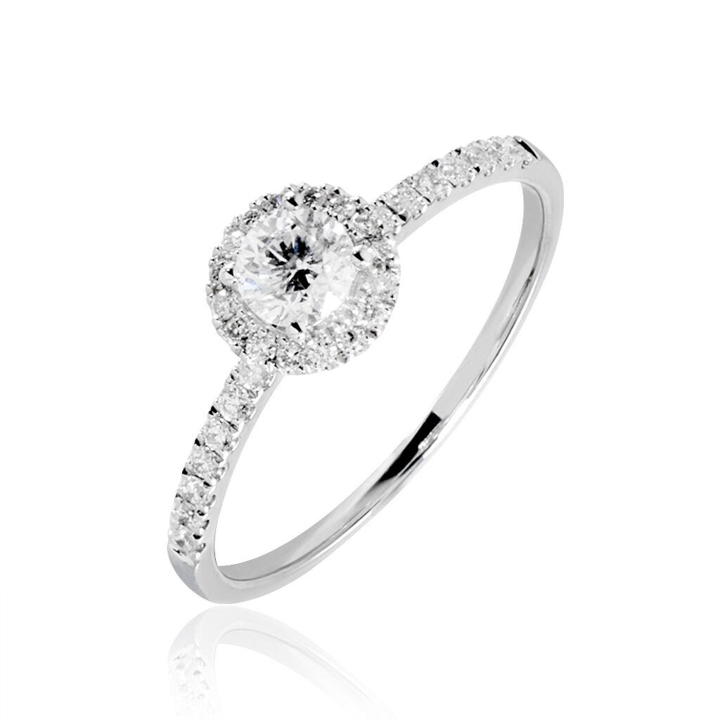 Bague Solitaire Lena Platine Blanc Diamant - Bagues avec pierre Femme   Histoire d'Or