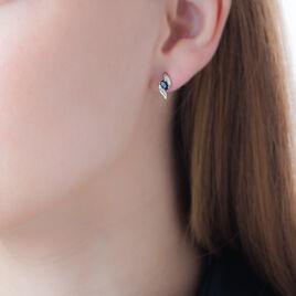 Boucles D'oreilles Puces Celestine Or Jaune Saphir Et Diamant - Clous d'oreilles Femme | Histoire d'Or