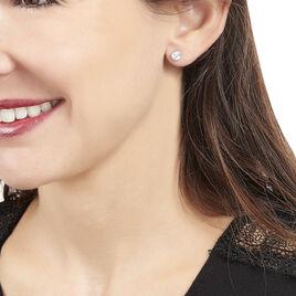 Boucles D'oreilles Or Blanc Et Topazes - Clous d'oreilles Femme | Histoire d'Or