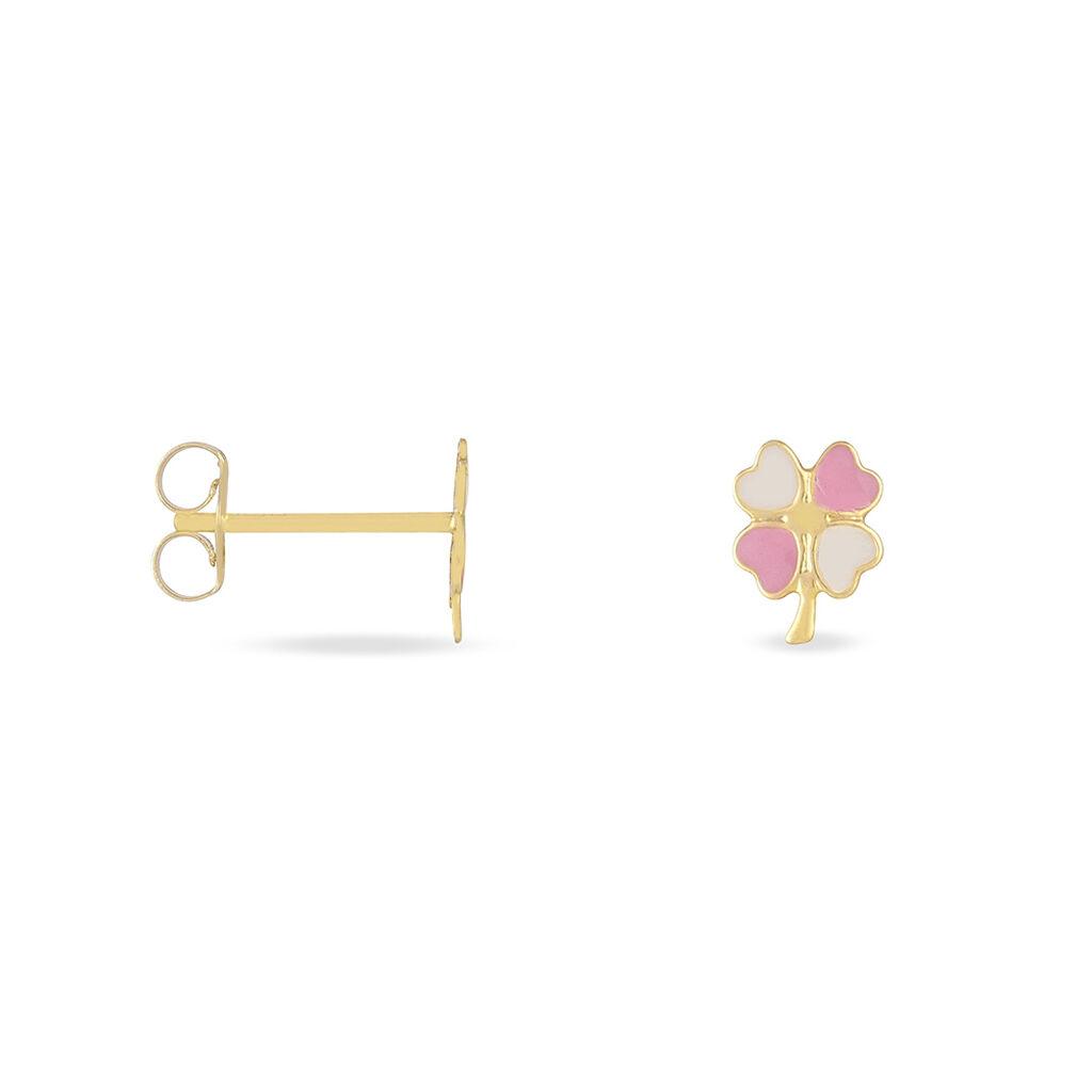 Boucles D'oreilles Puces Trefle Email Or Jaune - Boucles d'Oreilles Trèfle Enfant | Histoire d'Or