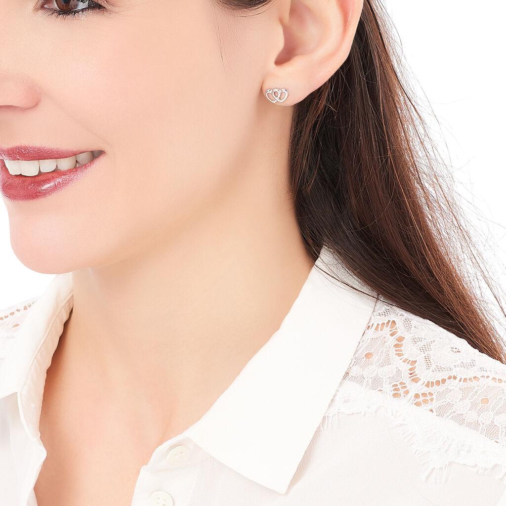 Boucles D'oreilles Puces Lehinaae Argent Blanc - Boucles d'Oreilles Coeur Femme | Histoire d'Or