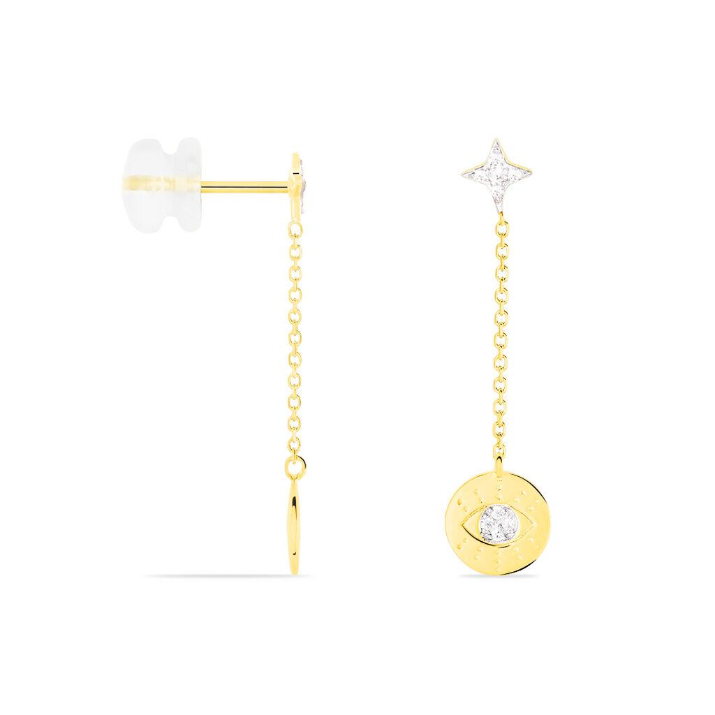 Boucles D'oreilles Pendantes Magdaline Or Jaune Oxyde De Zirconium - Boucles d'Oreilles Etoile Femme   Histoire d'Or