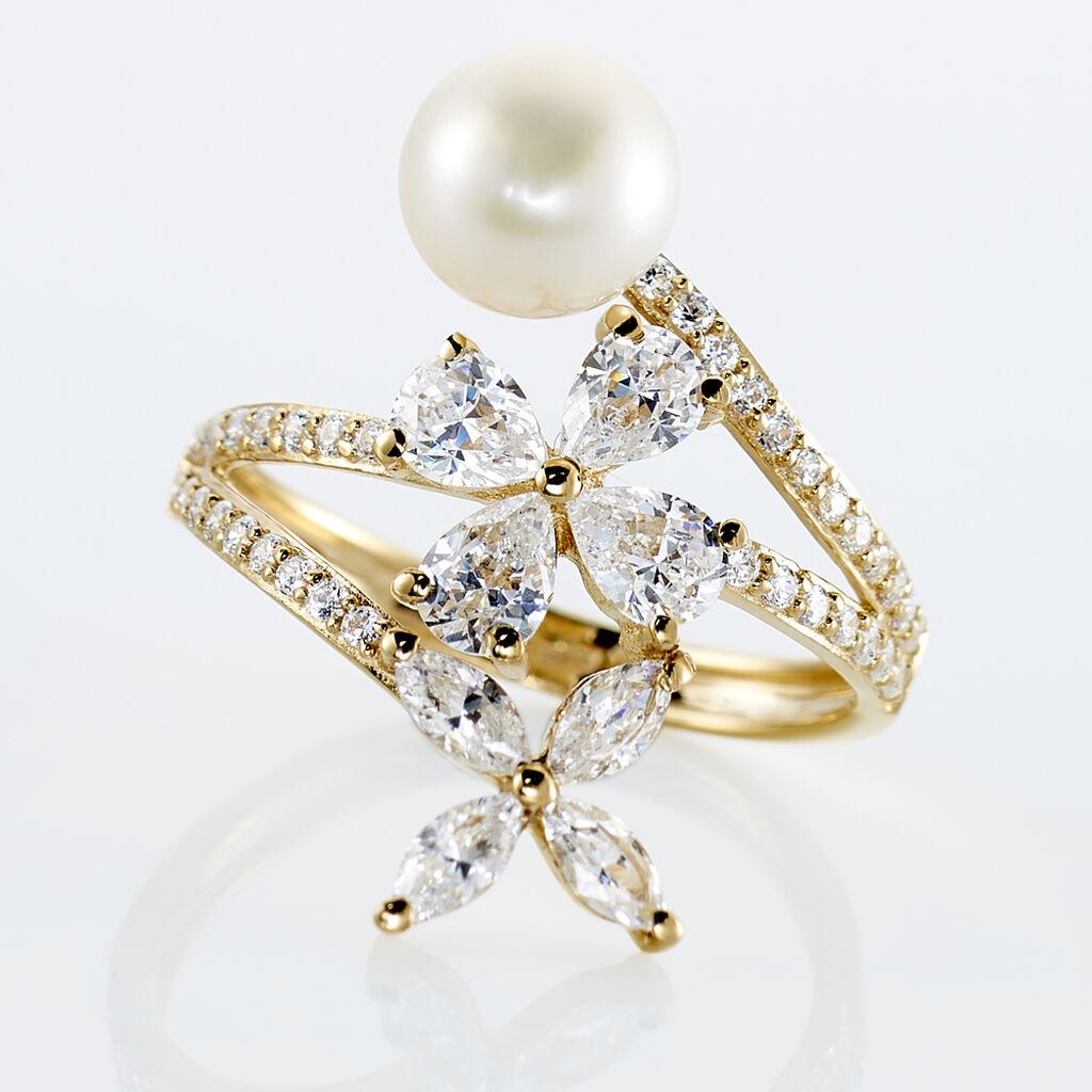 Bague Norah Or Jaune Perle De Culture Et Oxyde De Zirconium - Bagues avec pierre Femme   Histoire d'Or