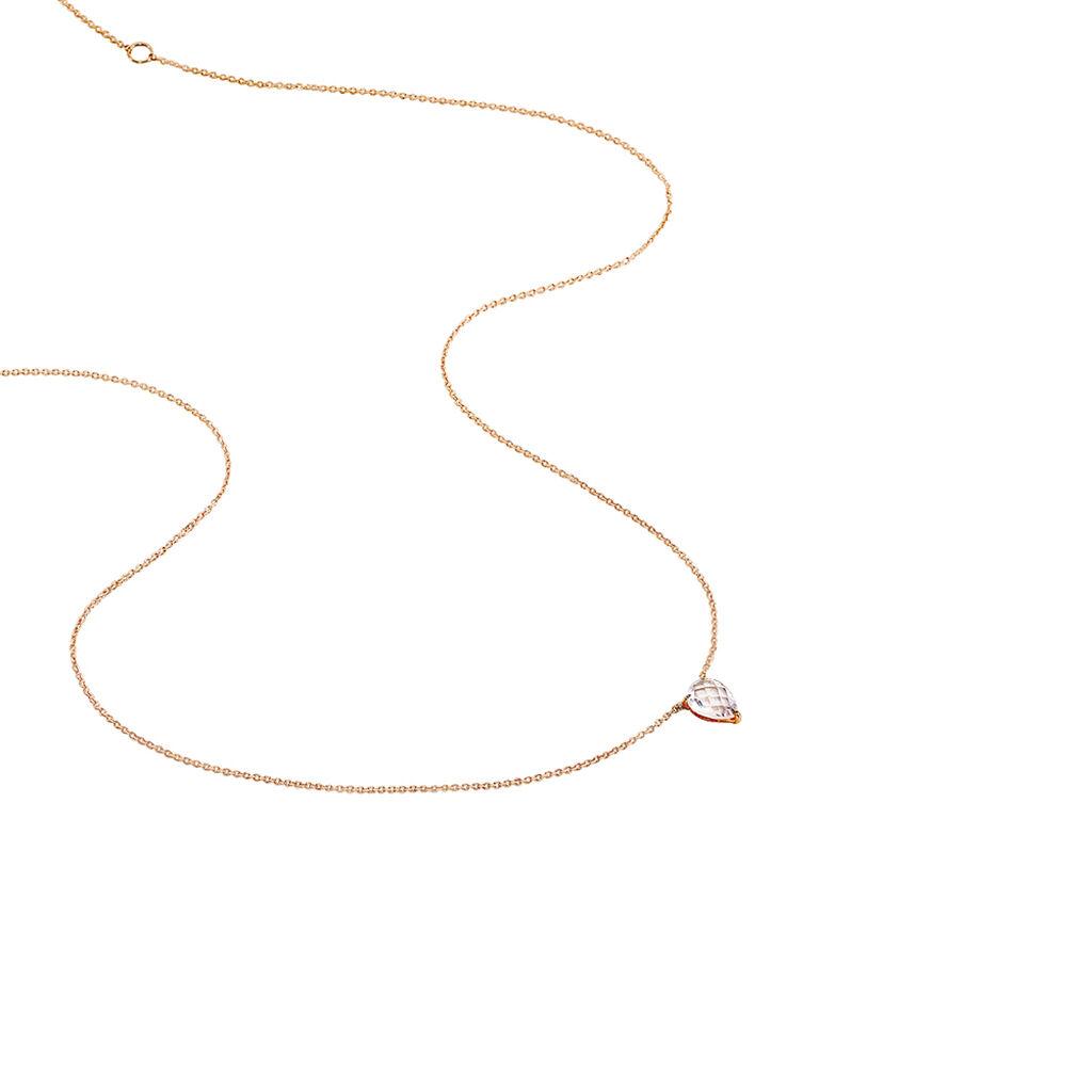 Collier Or Rose Quartz - Bijoux Femme | Histoire d'Or