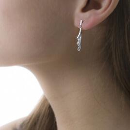Boucles D'oreilles Pendantes Audrey Or Blanc Diamant - Boucles d'oreilles pendantes Femme | Histoire d'Or