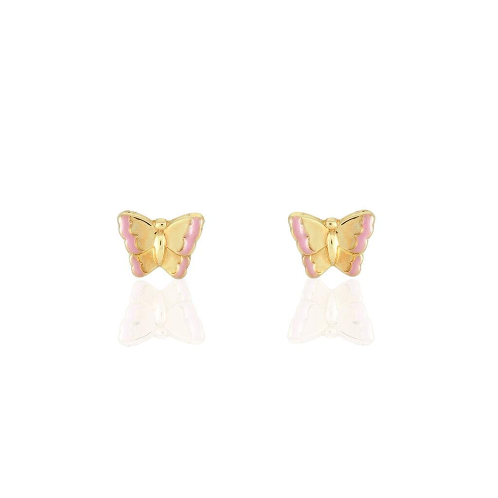 Boucles D'oreilles Puces Bartholomee Papillon Or Jaune - Boucles d'Oreilles Papillon Femme   Histoire d'Or