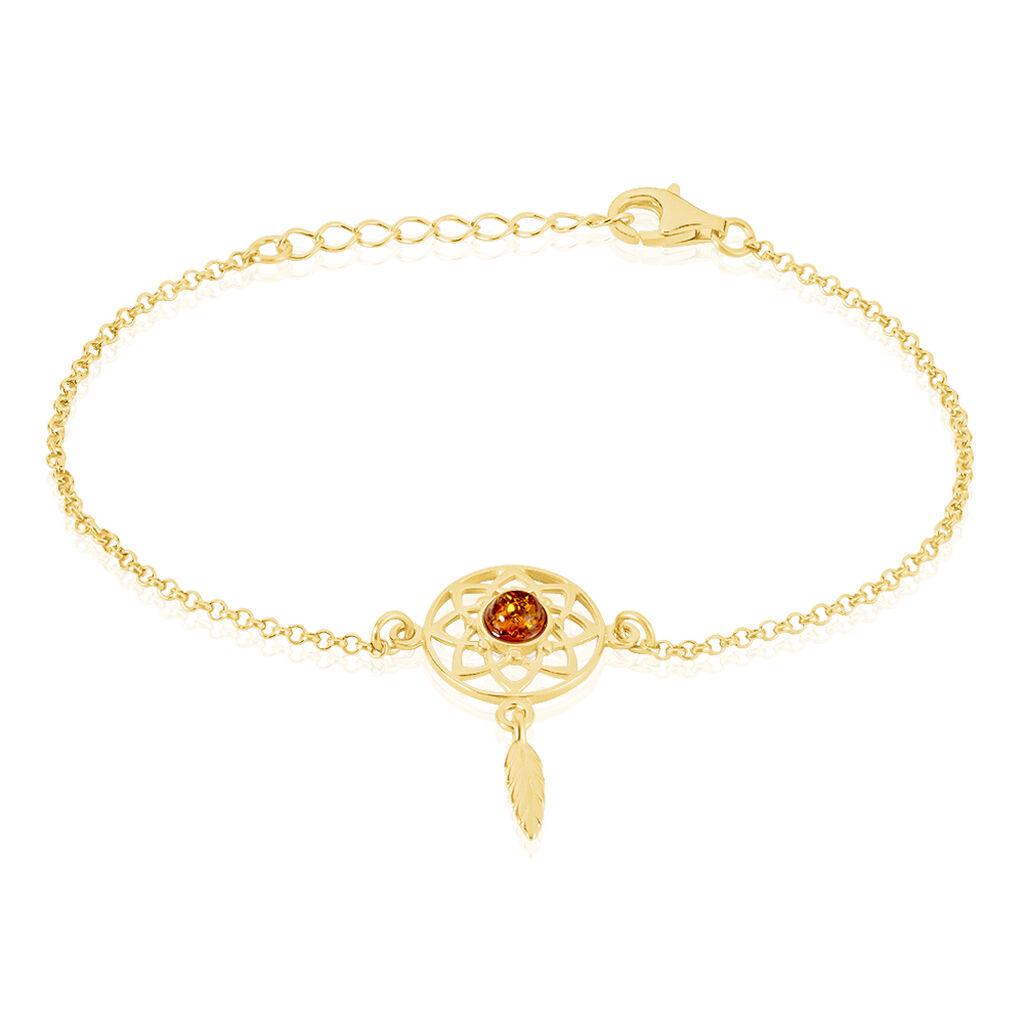 Bracelet Lona Argent Jaune Ambre - Bracelets Attrape rêves Femme   Histoire d'Or