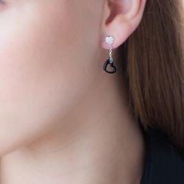 Boucles D'oreilles Pendantes Argent Oxyde De Zirconium Et Céramique - Boucles d'Oreilles Coeur Femme | Histoire d'Or