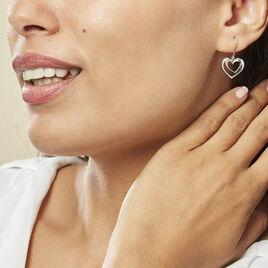 Boucles D'oreilles Pendantes Clarra Argent Blanc - Boucles d'Oreilles Coeur Femme | Histoire d'Or