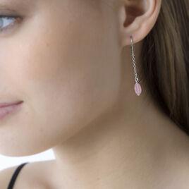 Boucles D'oreilles Pendantes Evren Argent Blanc Pierre De Synthese - Boucles d'oreilles fantaisie Femme   Histoire d'Or