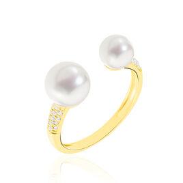 Bague Gaye Or Jaune Perle De Culture Oxyde De Zirconium - Bagues avec pierre Femme   Histoire d'Or