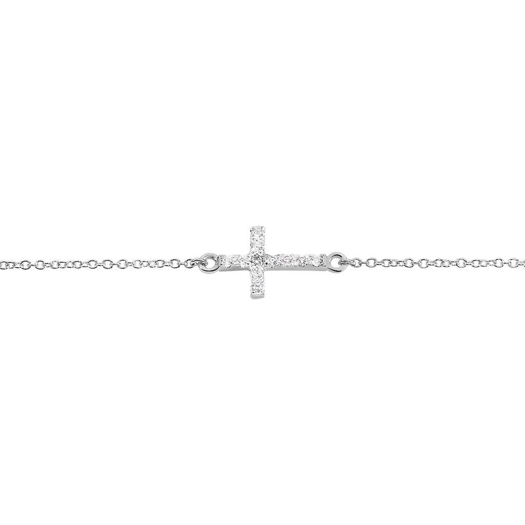 Bracelet Carlie Argent Blanc Oxyde De Zirconium - Bracelets Croix Femme   Histoire d'Or
