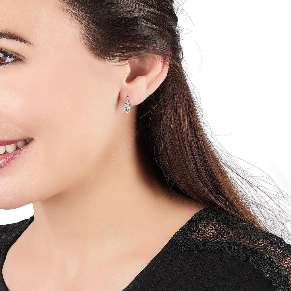 Boucles D'oreilles Pendantes Audea Or Blanc Topaze Et Diamant -  Femme | Histoire d'Or