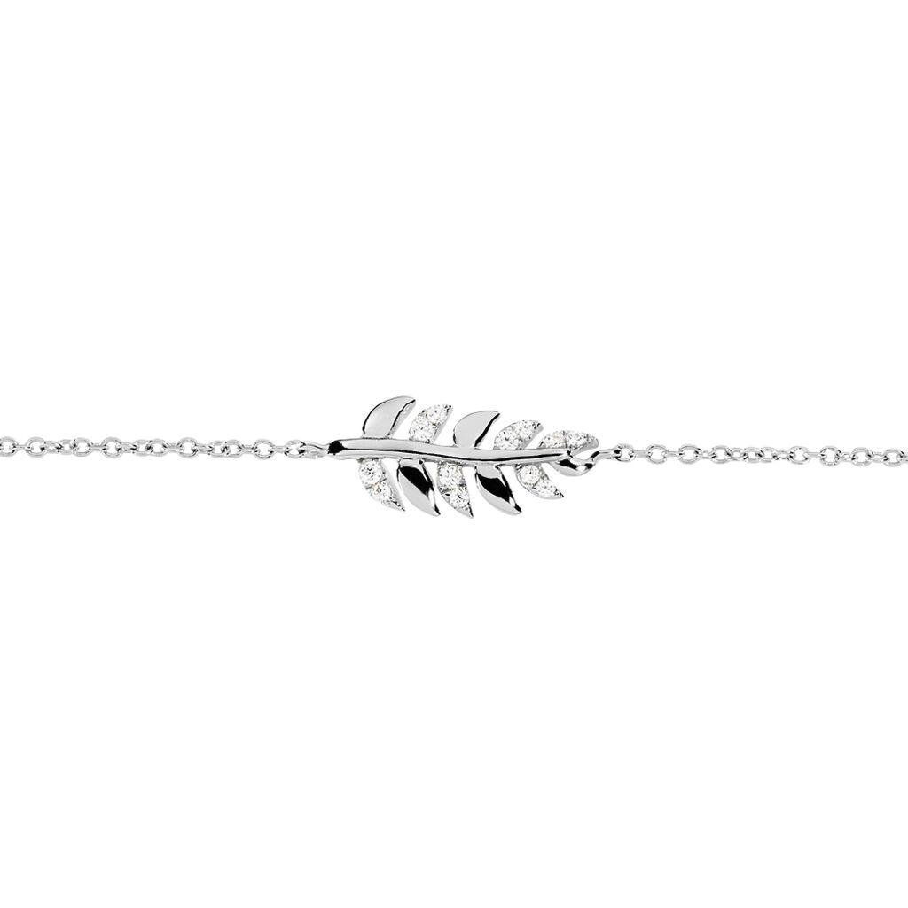 Bracelet Jade Argent Blanc Oxyde De Zirconium - Bracelets Plume Femme | Histoire d'Or