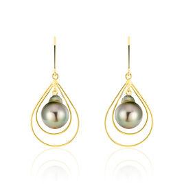 Boucles D'oreilles Pendantes Martyna Or Jaune Perle De Tahiti - Boucles d'oreilles pendantes Femme | Histoire d'Or