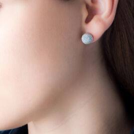 Boucles D'oreilles Puces Martina Argent Blanc - Boucles d'oreilles fantaisie Femme | Histoire d'Or