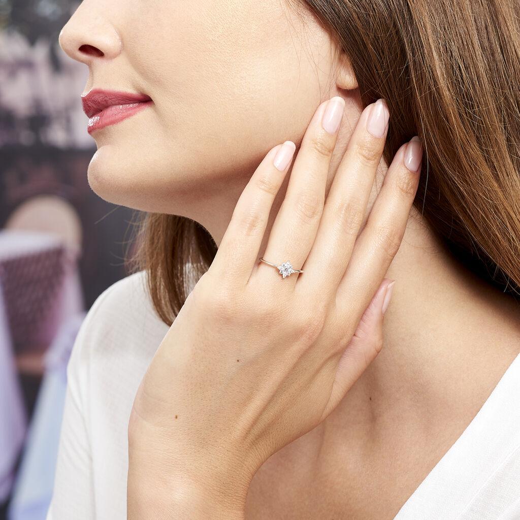 Bague Eclat Argent Blanc Oxyde De Zirconium - Bagues Etoile Femme   Histoire d'Or