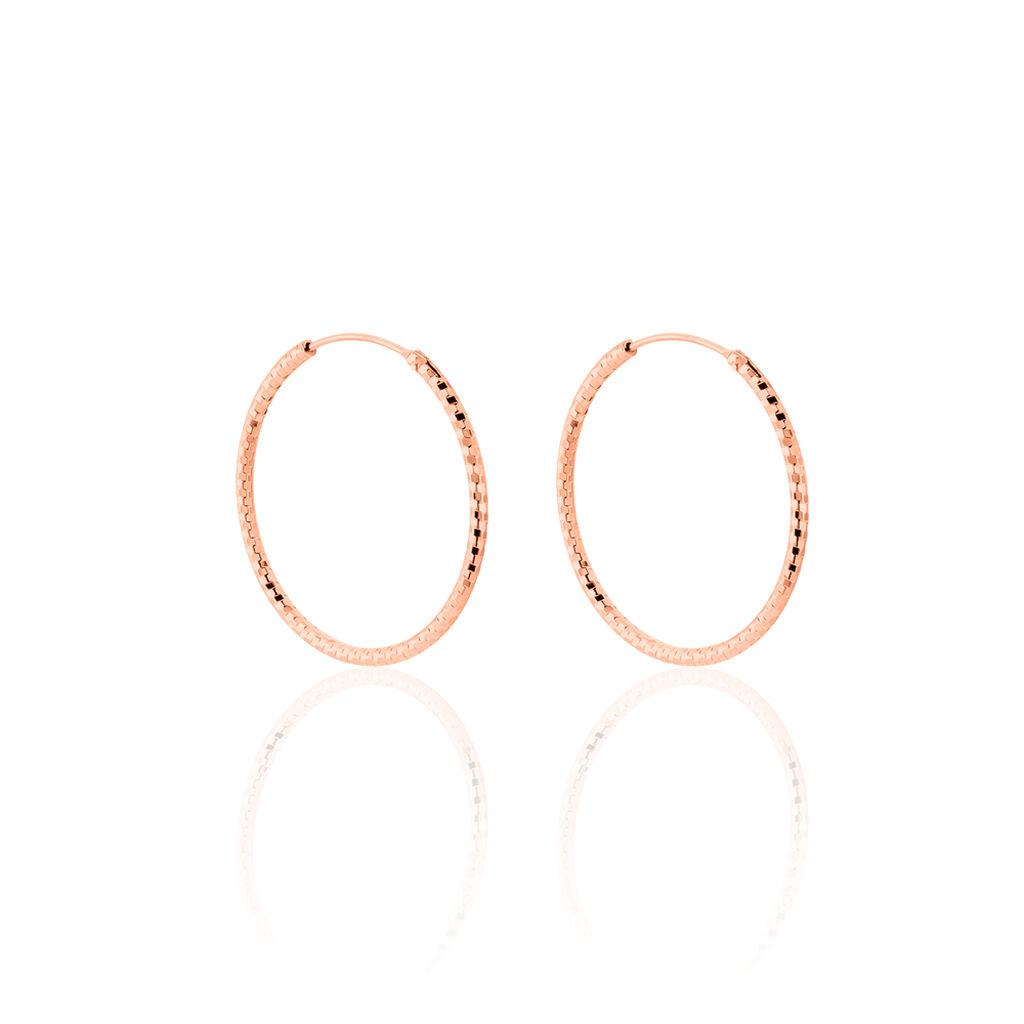 Créoles Agathe Diamantees Argent Rose - Boucles d'oreilles créoles Femme   Histoire d'Or