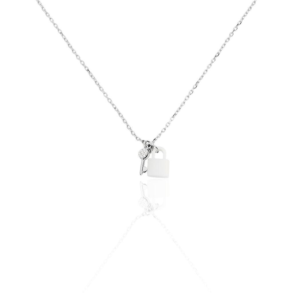 Collier Lily-may Argent Blanc Céramique Et Oxyde De Zirconium - Colliers fantaisie Femme | Histoire d'Or