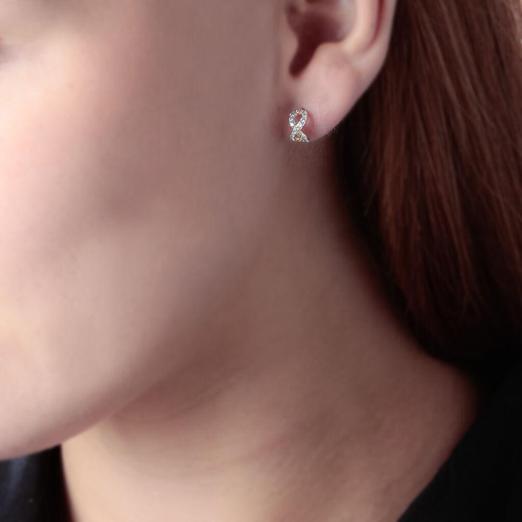 Boucles D'oreilles Puces Kalida Or Jaune Oxyde De Zirconium - Boucles d'Oreilles Infini Femme   Histoire d'Or