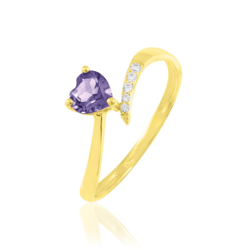 Bague Eva Or Jaune Amethyste Et Diamant - Bagues Coeur Femme   Histoire d'Or