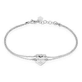 Bracelet Abbee Argent Blanc Oxyde De Zirconium - Bracelets Coeur Femme   Histoire d'Or