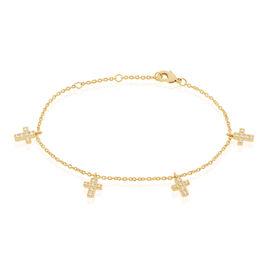 Bracelet Orina Plaque Or Jaune Oxyde De Zirconium - Bracelets Croix Femme | Histoire d'Or