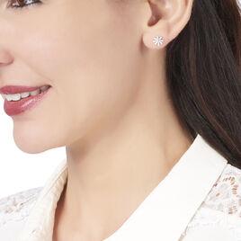 Boucles D'oreilles Puces Yuala Argent Blanc - Boucles d'oreilles fantaisie Femme | Histoire d'Or