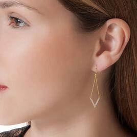 Boucles D'oreilles Pendantes Danae Or Jaune Oxyde De Zirconium - Boucles d'oreilles pendantes Femme | Histoire d'Or