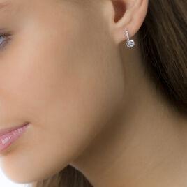 Boucles D'oreilles Pendantes Paciane Or Blanc Oxyde De Zirconium - Boucles d'oreilles pendantes Femme | Histoire d'Or