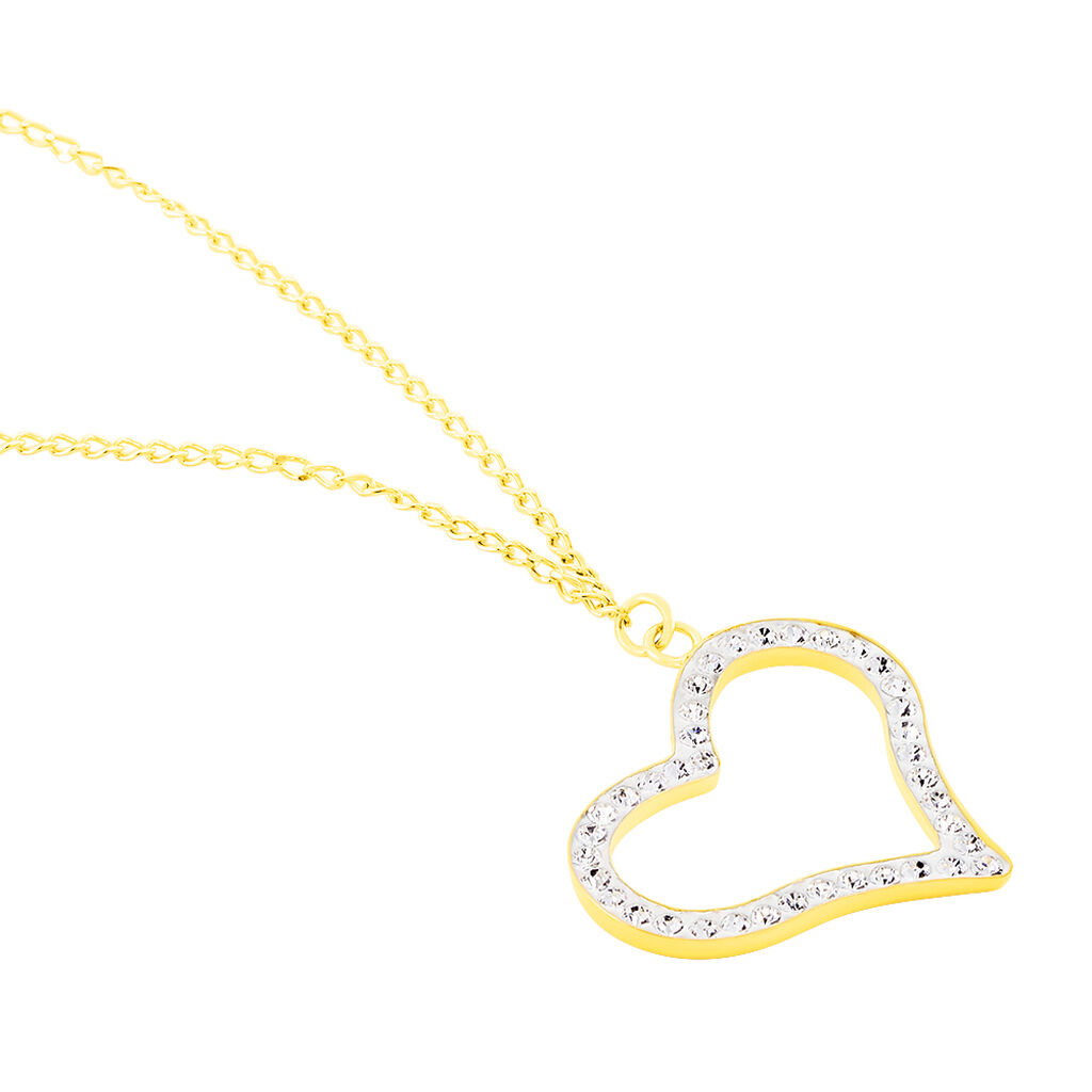Collier Sallie Or Jaune Strass - Colliers Coeur Femme   Histoire d'Or