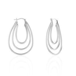 Créoles Aglae Acier Blanc - Boucles d'oreilles créoles Femme | Histoire d'Or