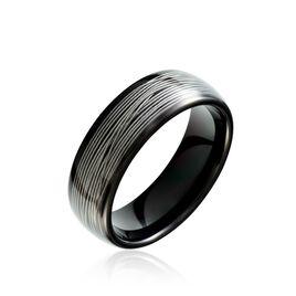 Bague Jourdan Homme Liorin Acier Bicolore Noir Et Blanc Tungstene - Bagues avec pierre Homme | Histoire d'Or