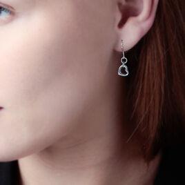 Boucles D'oreilles Pendantes Sweet Love Argent Blanc - Boucles d'Oreilles Coeur Femme   Histoire d'Or